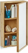 Relaxdays Bad Spiegelschrank aus Bambus,
