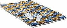 Relaxdays Badematte Blau POPPY mti Karos, weicher Hochflor Teppich, waschbarer Badvorleger 70 x 120 cm, blau-gelb