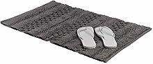 Relaxdays Badematte Jacquard, stonewashed Unikat, rutschsicherer Badteppich aus Baumwolle, modern, BxT: 80 x 50 cm, grau