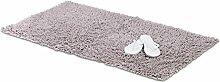 Relaxdays Badematte Shaggy, handgefertigter Hochflor Teppich, rutschfest, Baumwoll-Badvorleger, BxT: 120 x 70 cm, grau