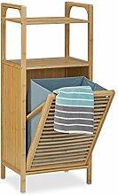 Relaxdays Badregal mit Wäschekorb aus Bambus HBT