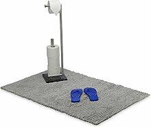 Relaxdays Badteppich Baumwolle 120 x 70 cm, Hochflor Badematte wendbar, Duschvorleger rutschhemmend und weich, grau
