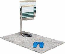 Relaxdays Badteppich Hochflor aus Baumwolle, 120 x 70 cm Badematte für Dusche, kuscheliger Badvorleger mit Muster, grau