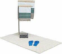 Relaxdays Badteppich Hochflor aus Baumwolle, 120 x 70 cm schwerer Duschvorleger, kuschelige Badematte mit Muster, weiß