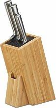 Relaxdays Bambus Messerblock mit Borsteneinsatz,