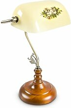 Relaxdays Bankerlampe Shabby Tischlampe Landhaus Retro, circa 26,5 x 40 x 18 cm - E27, gelb 10016608