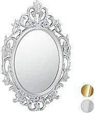 Relaxdays Barock Spiegel, ovaler Spiegel zum