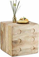 Relaxdays Beistelltisch Würfel aus Mangoholz, Deko Cube, Hocker m. Würfelaugen, Couchtisch HxBxT 45 x 45 x 45cm, natur