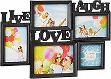 Relaxdays Bilderrahmen Live Love Laugh, 5 Bilder