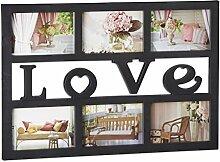 Relaxdays Bilderrahmen Love, Collage für 6 Fotos