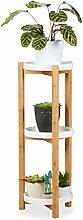 Relaxdays Blumenregal, 3 Etagen, Bambus & MDF,