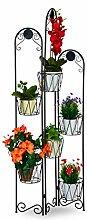 Relaxdays Blumenständer Metall, Paravent für