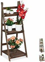 Relaxdays Blumentreppe, 3-stufig, Blumenleiter