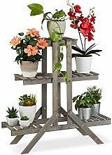 Relaxdays Blumentreppe aus Holz, Blumenregal
