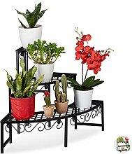 Relaxdays Blumentreppe aus Metall, Eck Blumenregal