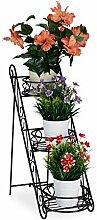 Relaxdays Blumentreppe Metall, 3 Ablagen,