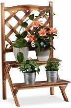 Relaxdays Blumentreppe mit Rankgitter, Blumenregal