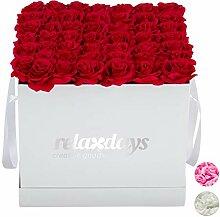 Relaxdays Bouquet Quadrato 49 Rose, Weiß,