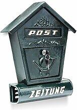Relaxdays Briefkasten Antik mit Zeitungsfach spitzes Dach HBT: 47 x 30 x 9,5 cm Wandbriefkasten aus Gusseisen zur Wandmontage mit Zeitungsrolle nostalgisches Design mit Verzierung, grün