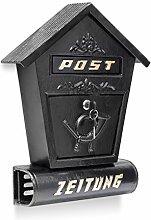 Relaxdays Briefkasten Antik mit Zeitungsfach spitzes Dach HBT: 47 x 30 x 9,5 cm Wandbriefkasten aus Gusseisen zur Wandmontage mit Zeitungsrolle nostalgisches Design mit Verzierung, schwarz