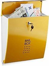 Relaxdays Briefkasten Gelb, Modern, Mit Schloss,
