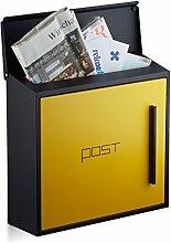Relaxdays Briefkasten gelb modern Zweifarben