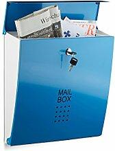 Relaxdays Briefkasten Hellblau, Modern, Mit