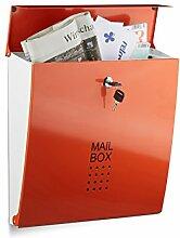 Relaxdays Briefkasten Orange, Modern, Mit Schloss,