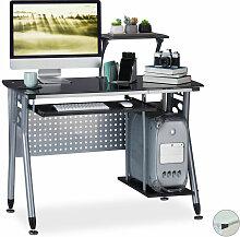 Relaxdays - Computertisch Glas, Tastaturauszug &