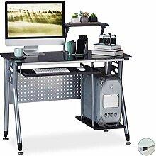 Relaxdays Computertisch Glas, Tastaturauszug &