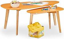 Relaxdays Couchtisch retro in 2 Größen, Vintage Satztisch f. Jugendzimmer, Beistelltisch m. Bambus Holzbeine, orange