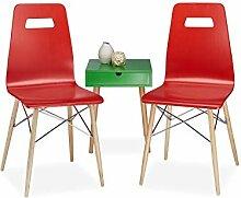 Relaxdays Design Stuhl 2-er Set ARVID, Holz,