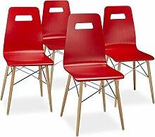 Relaxdays Design Stuhl 4-er Set ARVID, Holz,