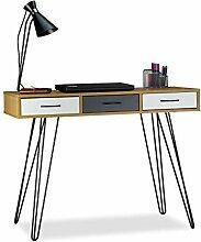 Relaxdays Designer Schreibtisch, 3 Schubladen,