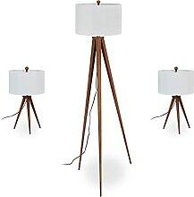 Relaxdays Dreibein Lampe im 3er Set, Stehleuchte &
