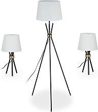 Relaxdays Dreibein Lampen 3er Set, Stehleuchte & 2