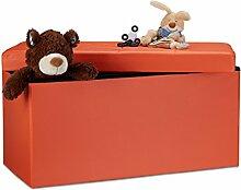 Relaxdays Faltbare Sitzbank 38 x 78 x 38 cm HxBxT, 2-Sitzer m. Stauraum, Kunstleder Sitzhocker 300 kg belastbar, orange