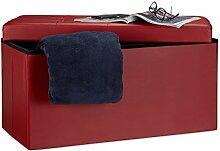 Relaxdays Faltbare Sitzbank 38 x 78 x 38 cm HxBxT, 2-Sitzer m. Stauraum, Kunstleder Sitzhocker 300 kg belastbar, dunkel-ro