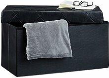 Relaxdays Faltbare Sitzbank, Aufbewahrungsbox für Stauraum, HxBxT: 38 x 78 x 38 cm, Sitzhocker, Kunstleder, schwarz