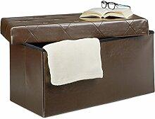 Relaxdays Faltbare Sitzbank, Aufbewahrungsbox für Stauraum, HxBxT: 38 x 78 x 38 cm, Sitzhocker, Kunstleder, braun