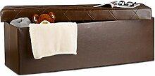 Relaxdays Faltbare Sitzbank, Aufbewahrungsbox mit Deckel, H x B x T: 38 x 114 x 38 cm, Sitzhocker, Kunstleder, braun