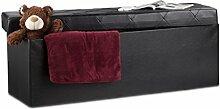 Relaxdays Faltbare Sitzbank, Aufbewahrungsbox mit Deckel, H x B x T: 38 x 114 x 38 cm, Sitzhocker, Kunstleder, schwarz