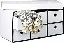 Relaxdays faltbare Sitzbank mit Stauraum in 6 entnehmbaren Fächern HBT: 38 x 76 x 38 cm Sitztruhe aus Kunstleder zum Falten mit Aufbewahrung Ottomane mit entnehmbaren Körben Sitzhocker, weiß