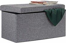 Relaxdays Faltbare Sitzbank XL 38 x 76 x 38 cm HxBxT stabiler Sitzcube mit Fußablage als Sitzwürfel aus Leinen als Aufbewahrungsbox mit Stauraum und Deckel zum Abnehmen für Wohnraum, dunkelgrau