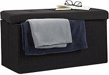Relaxdays Faltbare Sitzbank XL, mit Stauraum, Sitzcube, Fußablage, Sitzwürfel als Aufbewahrungsbox, 38x76x38cm, schwarz