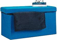 Relaxdays Faltbare Sitzbank XL, mit Stauraum, Sitzcube mit Fußablage, Sitzwürfel als Aufbewahrungsbox, 38x76x38 cm, blau
