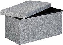 Relaxdays Faltbare Sitzbank XL, mit Stauraum, Sitzcube mit Fußablage, Sitzwürfel als Aufbewahrungsbox, 38x76x38 cm, grau