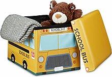 Relaxdays Faltbare Spielzeugkiste Schulbus HBT 32 x 48 x 32 cm stabiler Kinder Sitzhocker als Spielzeugbox aus Kunstleder mit Stauraum ca. 37 l und Deckel zum Abnehmen für Kinderzimmer, School-Bus