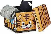 Relaxdays Faltbare Spielzeugkiste Tiger HBT 32 x 48 x 32 cm stabiler Kinder Sitzhocker als Spielzeugbox aus Kunstleder mit Stauraum ca. 37 l und Deckel zum Abnehmen für Kinderzimmer, Safari Bus