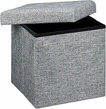 Relaxdays Faltbarer Sitzhocker, 38 x 38 x 38 cm, Sitzcube als Fußablage, Sitzwürfel aus Leinen, Deckel zum Abnehmen, grau